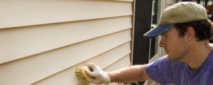 Man washing vinyl siding by hand with brush